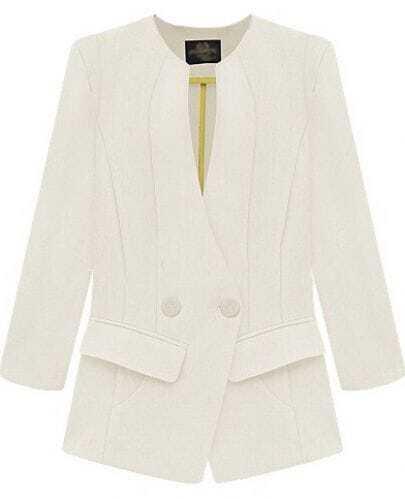 White Long Sleeve Pockets Slim Blazer