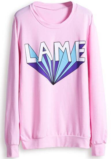 Pink Long Sleeve LAME Print Casual Sweatshirt