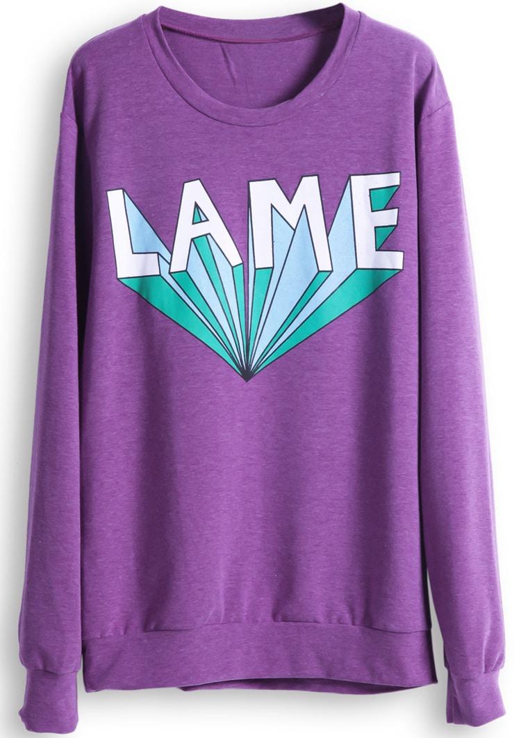 Purple Long Sleeve LAME Print Casual Sweatshirt -SheIn(Sheinside)