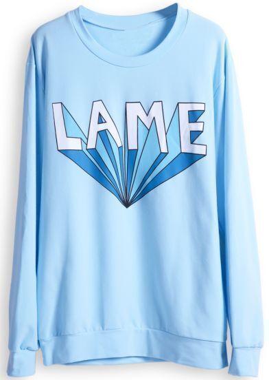 Blue Long Sleeve LAME Print Casual Sweatshirt