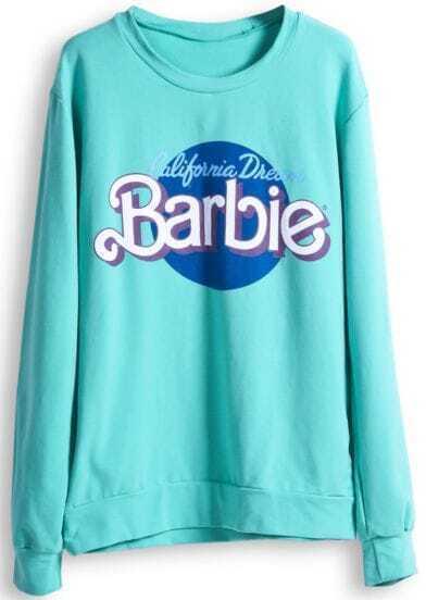 Green Long Sleeve Barbie Print Casual Sweatshirt