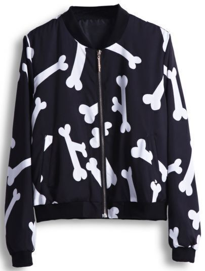 Black Long Sleeve Cartoon Bone Print Jacket