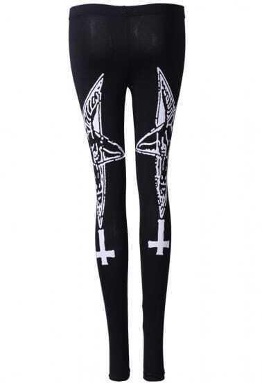 Black Skinny Cross Print Leggings