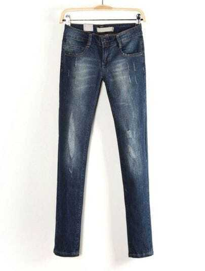 Navy Pockets Ripped Bleached Denim Pant