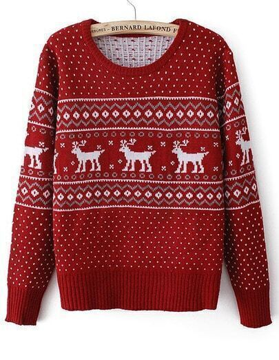 Red Long Sleeve Deer Geometric Pattern Sweater