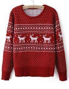Red Long Sleeve Deer Geometric Pattern Sweater