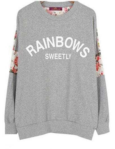 Grey Long Sleeve Contrast Lace Letters Print Sweatshirt