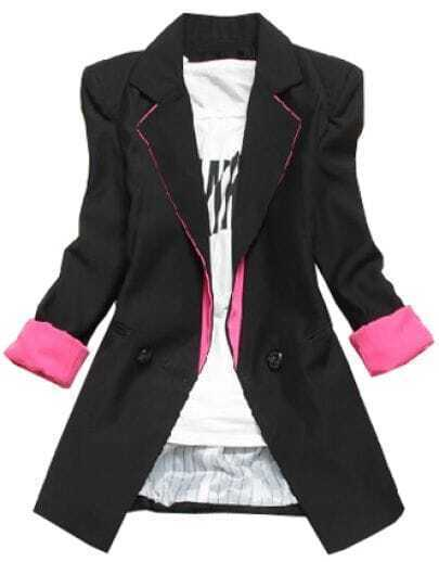 Black Notch Lapel Long Sleeve Shoulder Pads Blazer