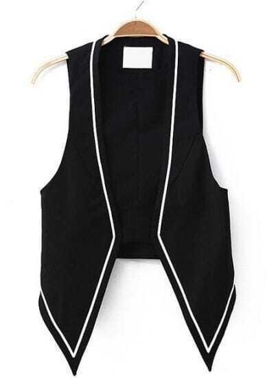 Black Sleeveless Contrast Trims Casual Blazer
