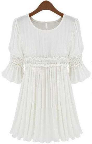 White Short Sleeve Pleated Chiffon Dress