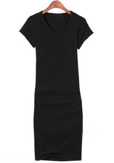 Black V Neck Short Sleeve Bodycon Dress