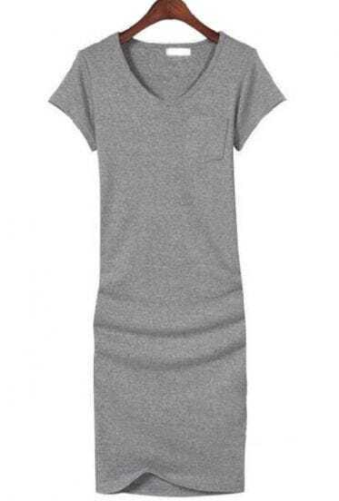 Light Grey V Neck Short Sleeve Bodycon Dress