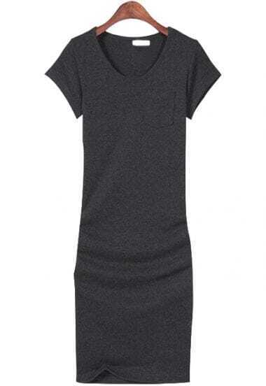 Dark Grey V Neck Short Sleeve Bodycon Dress