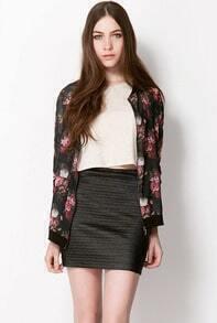 Black Long Sleeve Zipper Floral Jacket