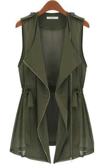 Army Green Sleeveless Epaulet Chiffon Outerwear