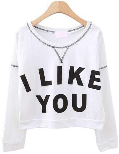 White Long Sleeve I LIKE YOU Print Crop Sweatshirt