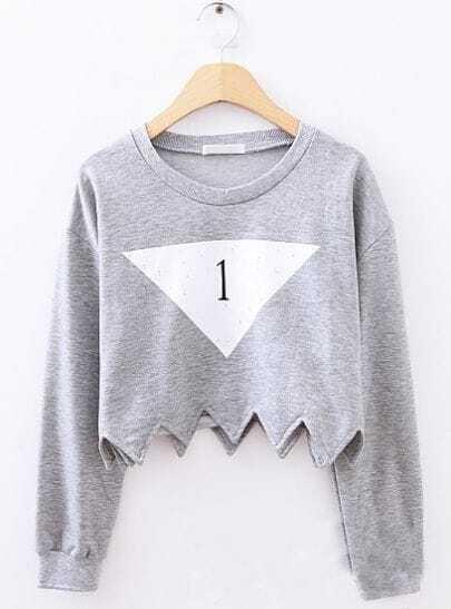 Grey Long Sleeve Triangle Print Crop Sweatshirt