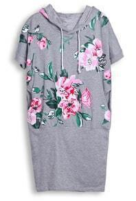 Grey Hooded Short Sleeve Floral Bodycon Dress