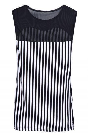 Black White Vertical Stripe Contrast Mesh Yoke Blouse