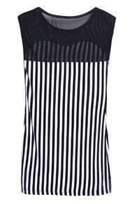 Black White Vertical Stripe Contrast Mesh Yoke Blouse
