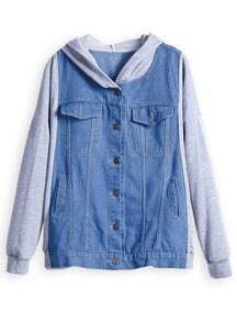 Blue Contrast Hooded Long Sleeve Denim Jacket