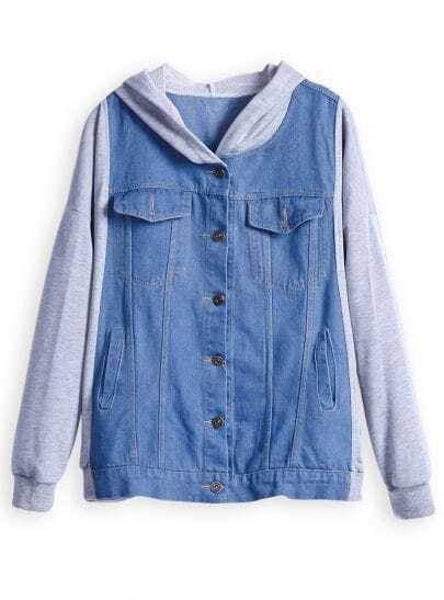 Blue Contrast Hooded Long Sleeve Denim Jacket
