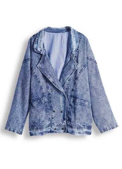 Blue Notch Lapel Long Sleeve Denim Jacket
