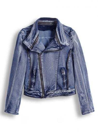Blue Long Sleeve Zipper Denim Crop Jacket