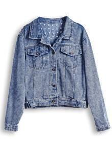 Blue Lapel Long Sleeve Rivet Crop Denim Jacket