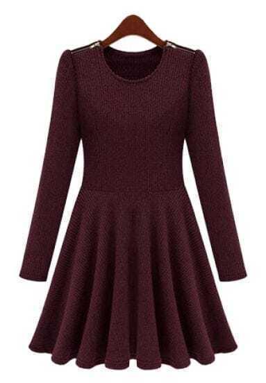Purple Long Sleeve Zipper Shoulder Pleated Dress