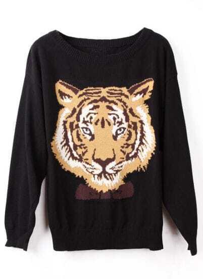 Black Long Sleeve Tiger Print Pullovers Sweater