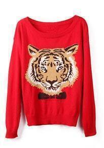 Red Long Sleeve Tiger Print Pullovers Sweater