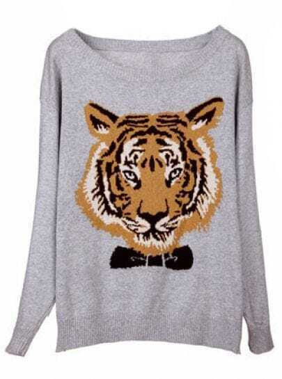 Grey Long Sleeve Tiger Print Pullovers Sweater