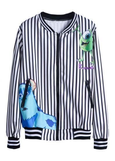 Black White Vertical Stripe Cartoon Print Jacket