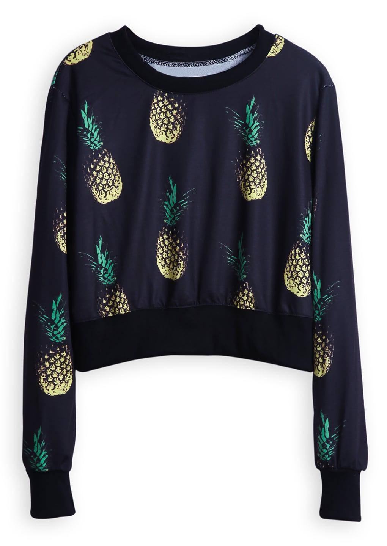 Black Long Sleeve Pineapple Print Crop Sweatshirt -SheIn ...
