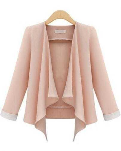 Pink Long Sleeve Casual Crop Blazer