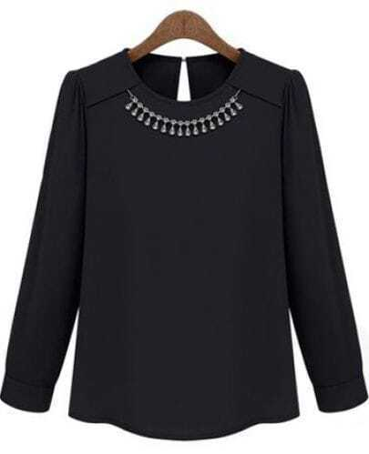 Black Long Sleeve Necklace Embellished Blouse
