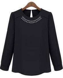 Black Long Sleeve Necklace Embellished Blouse