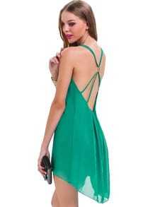 Green Spaghetti Strap Backless Chiffon Dress