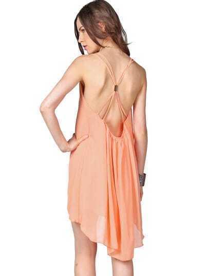 Pink Foam Spaghetti Strap Backless Chiffon Dress