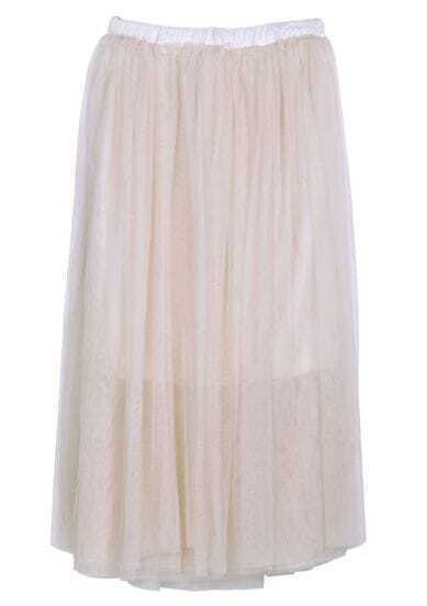 Beige High Waist Mesh Yoke Flare Skirt