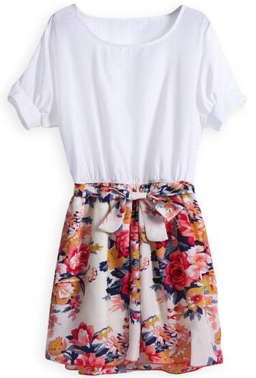 White Short Sleeve Contrast Floral Belt Dress