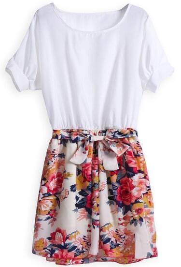 White Short Sleeve Contrast Floral Belt Dress