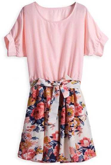 Red Short Sleeve Contrast Floral Belt Dress