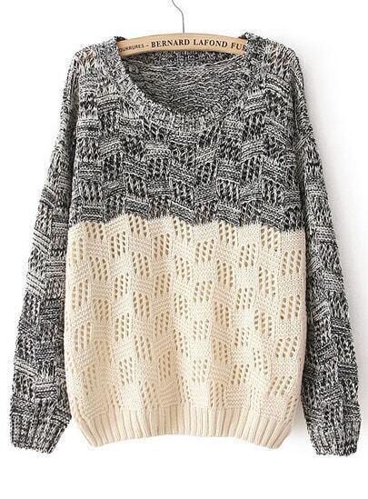 Black Beige Long Sleeve Geo Pattern Sweater