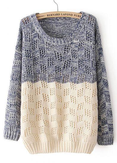 Blue Beige Long Sleeve Geo Pattern Sweater