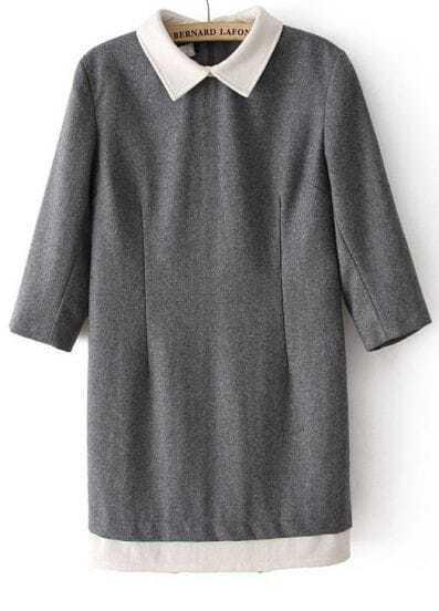 Grey Contrast Lapel Zipper Straight Dress