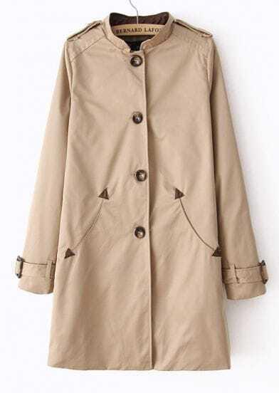 Khaki Stand Collar Long Sleeve Epaulet Trench Coat