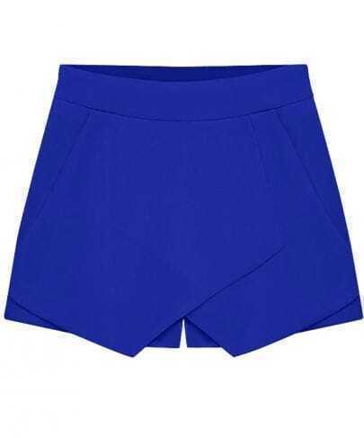 Blue Flange Split Zipper Shorts