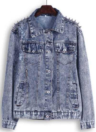 Blue Lapel Long Sleeve Rivet Denim Jacket